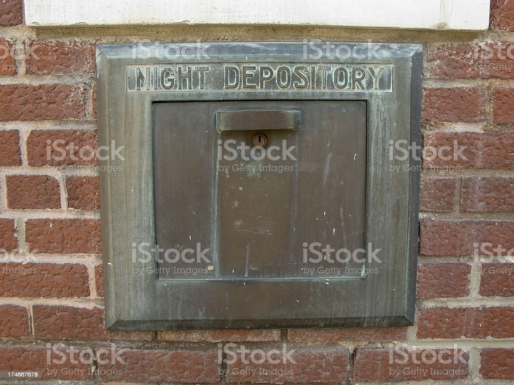 Old Brass Bank Night Deposit Box. stock photo