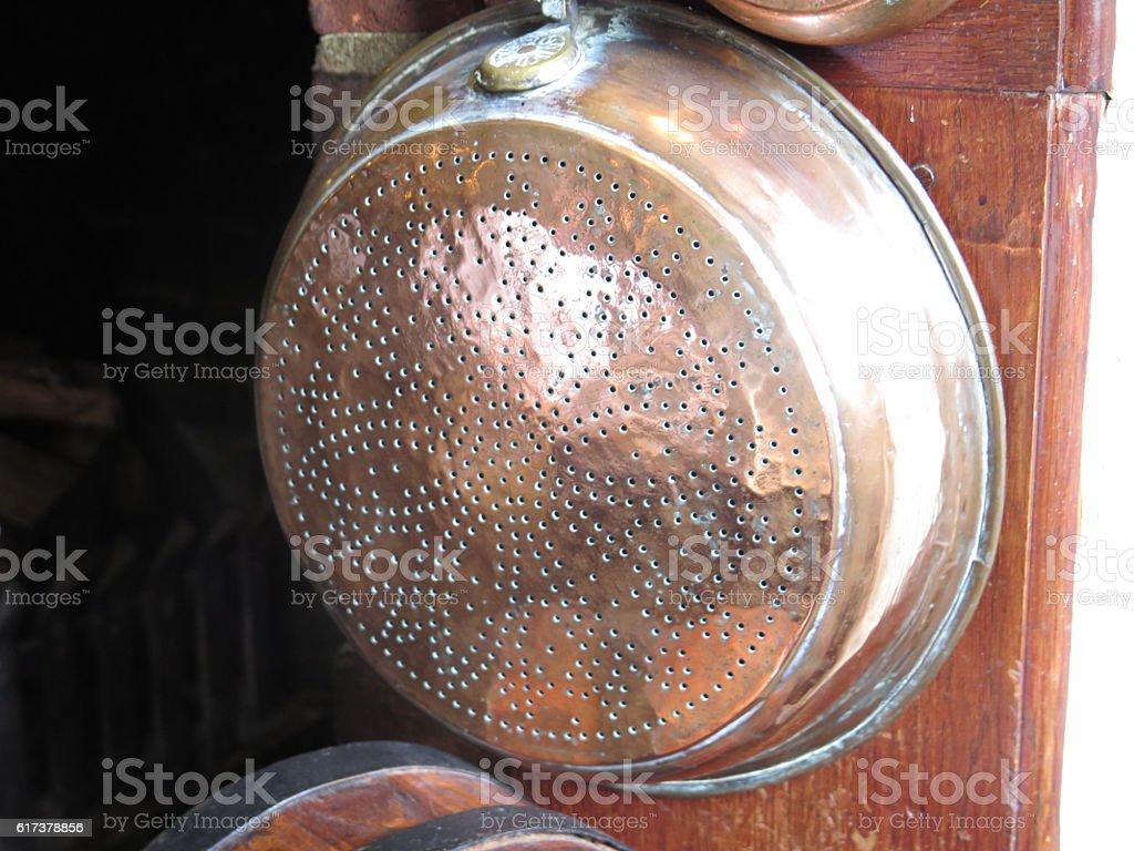 Old brass collander stock photo