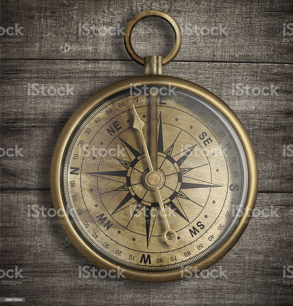 old brass compass on wood table top view royalty-free stock photo