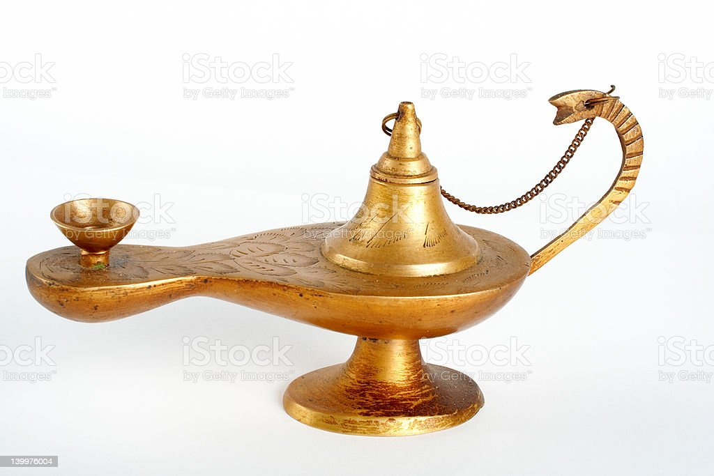 Old brass oil lamp royalty-free stock photo