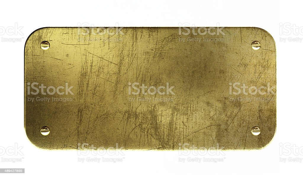 Old brass plaque stock photo