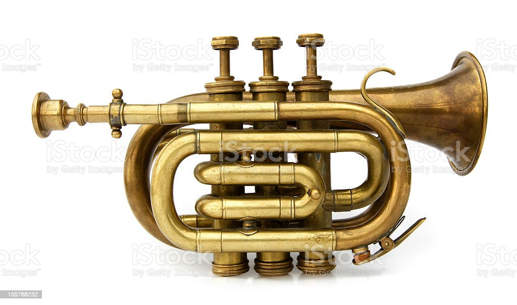 Old brass trumpet musical instrument royalty-free stock photo