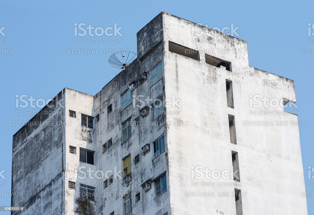 Old Brazilian apartment high rise building stock photo