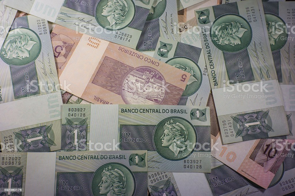 Old Brazilian Currency Bills stock photo