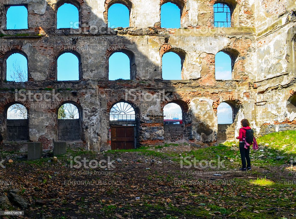Old brick and stone walls, the ruins of buildings. stock photo
