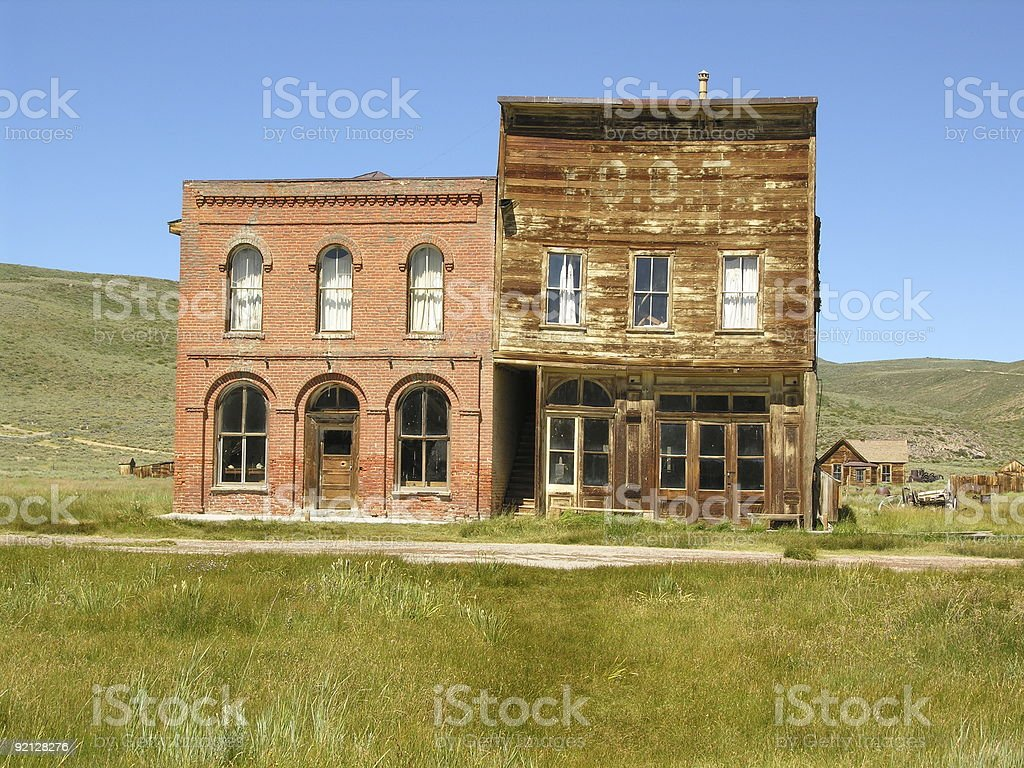 Old Brick and Wood Building - Bodie State Park, California royalty-free stock photo