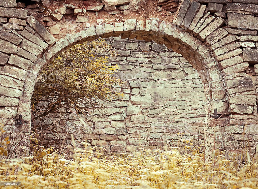 Old brick archway stock photo