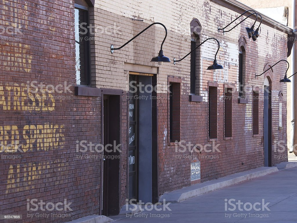 Old brick building wall two stock photo