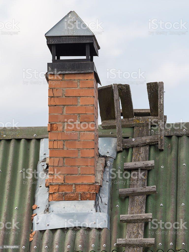 Old brick chimney stock photo