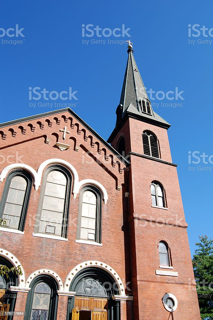 Old Brick Church Against Blue Sky royalty-free stock photo