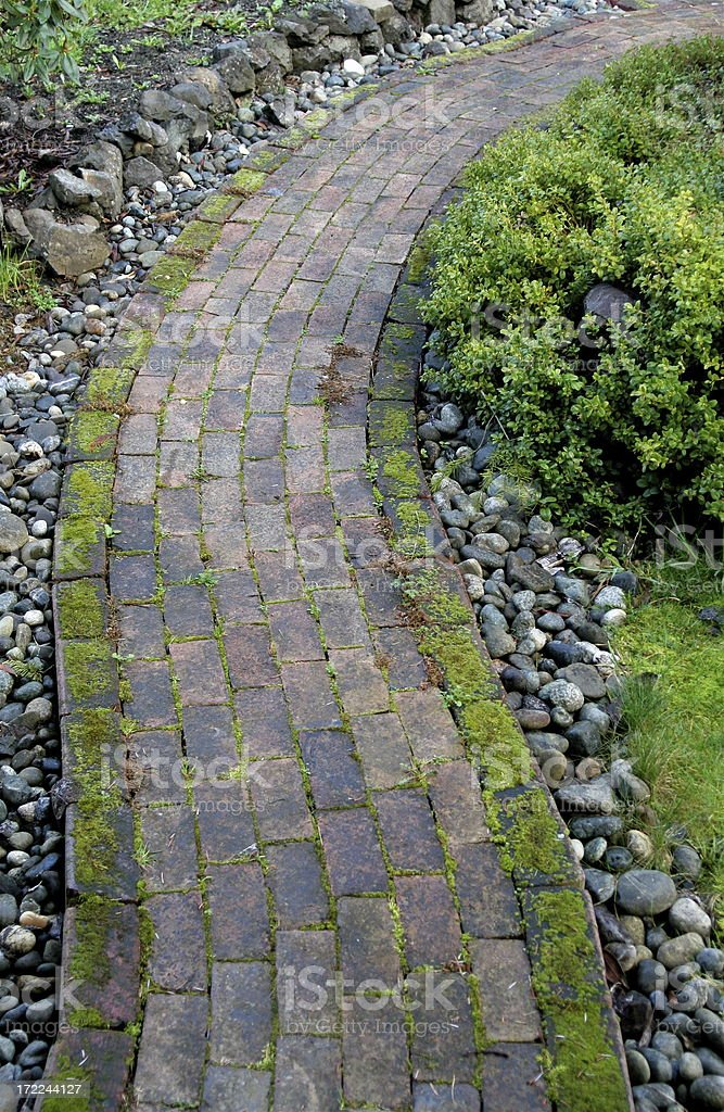 Old Brick Garden Path royalty-free stock photo