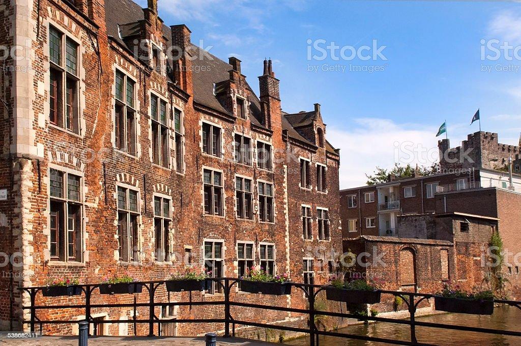 old brick house in Gent, Belgium stock photo