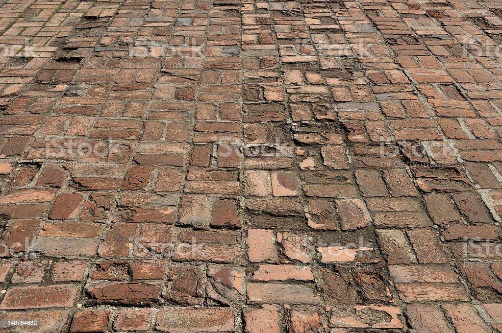Old brick pavement background royalty-free stock photo