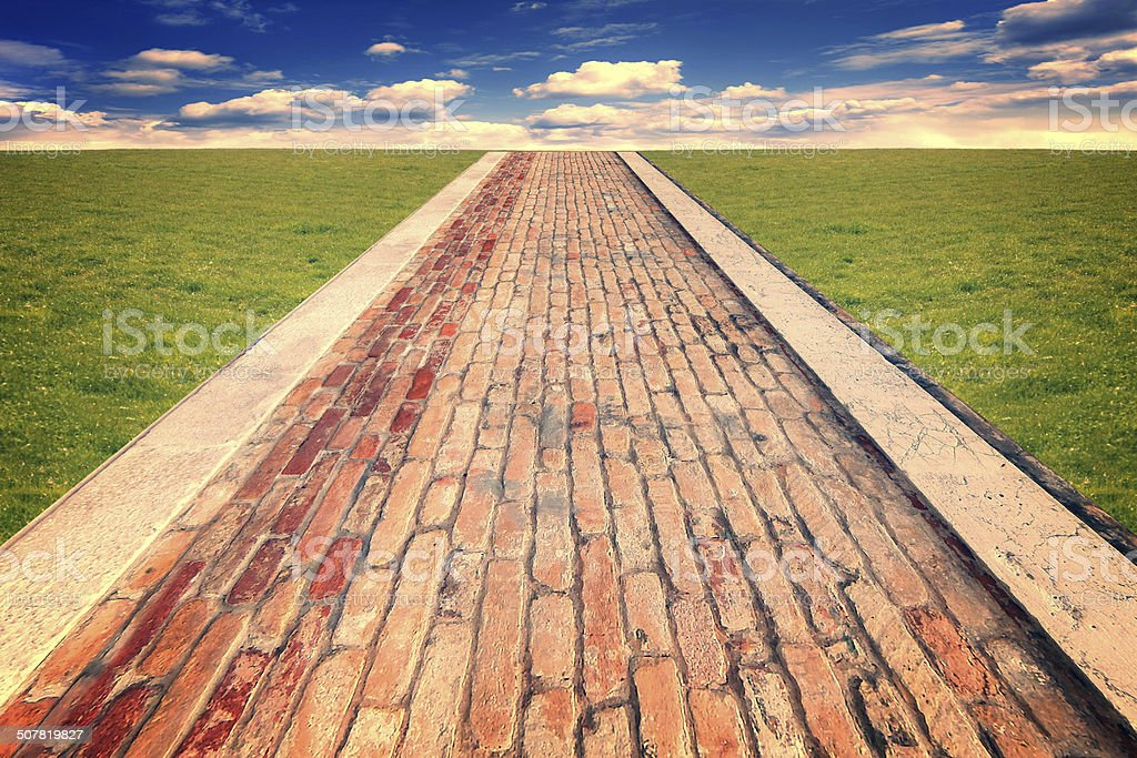 old brick road stock photo