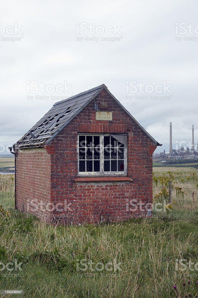 Old brick telephone exchange stock photo