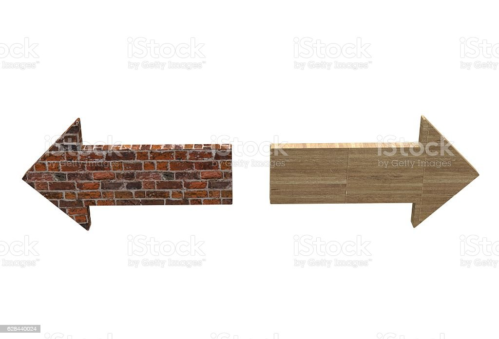 old brick texture arrow and hardwood floor texture arrow stock photo