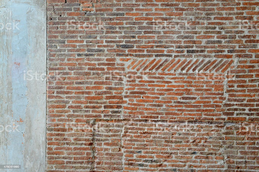 Old brick wall and concrete texture, background stock photo