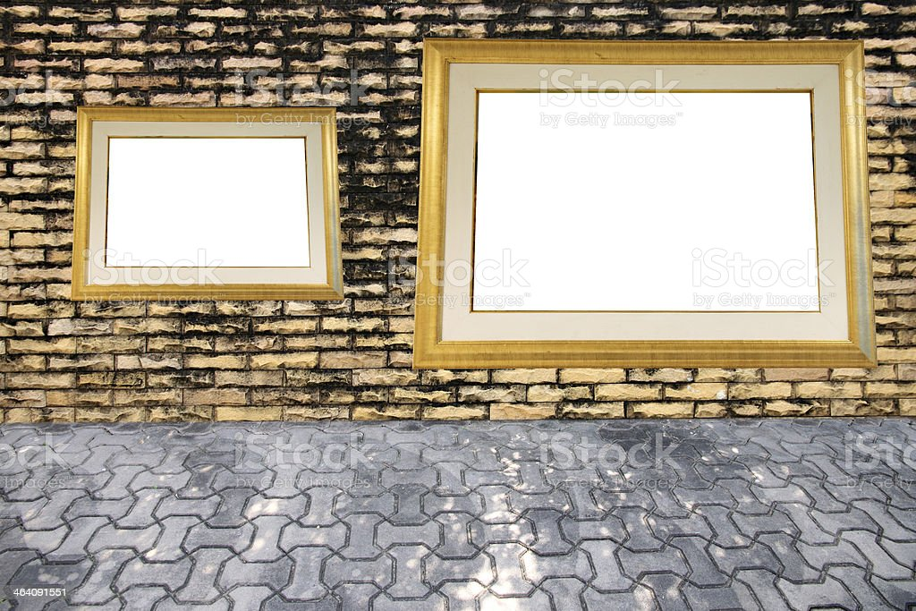 Old brick wall and photo frame. stock photo