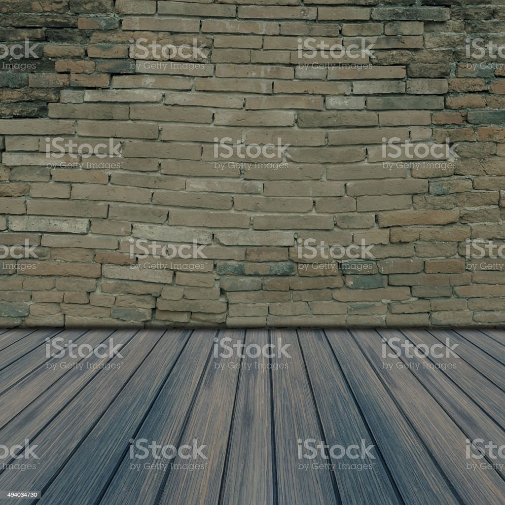 Old brick wall and wooden floor. royalty-free stock photo