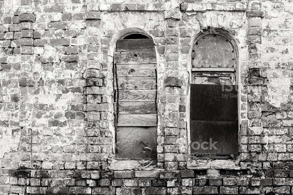 old brick wall of monochrome tone stock photo