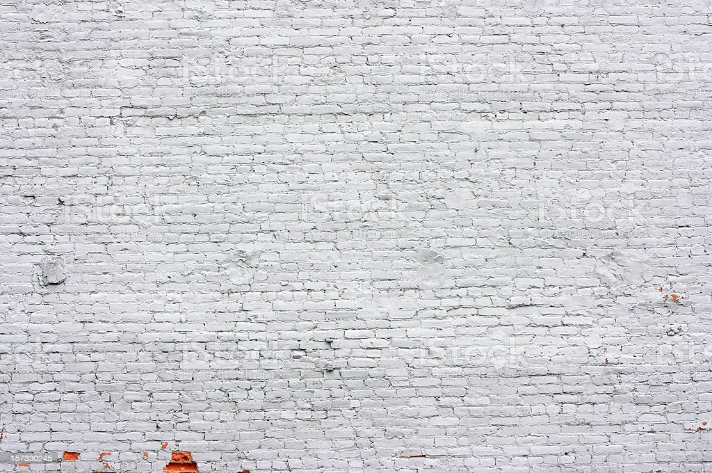 Old Brick Wall painted White stock photo