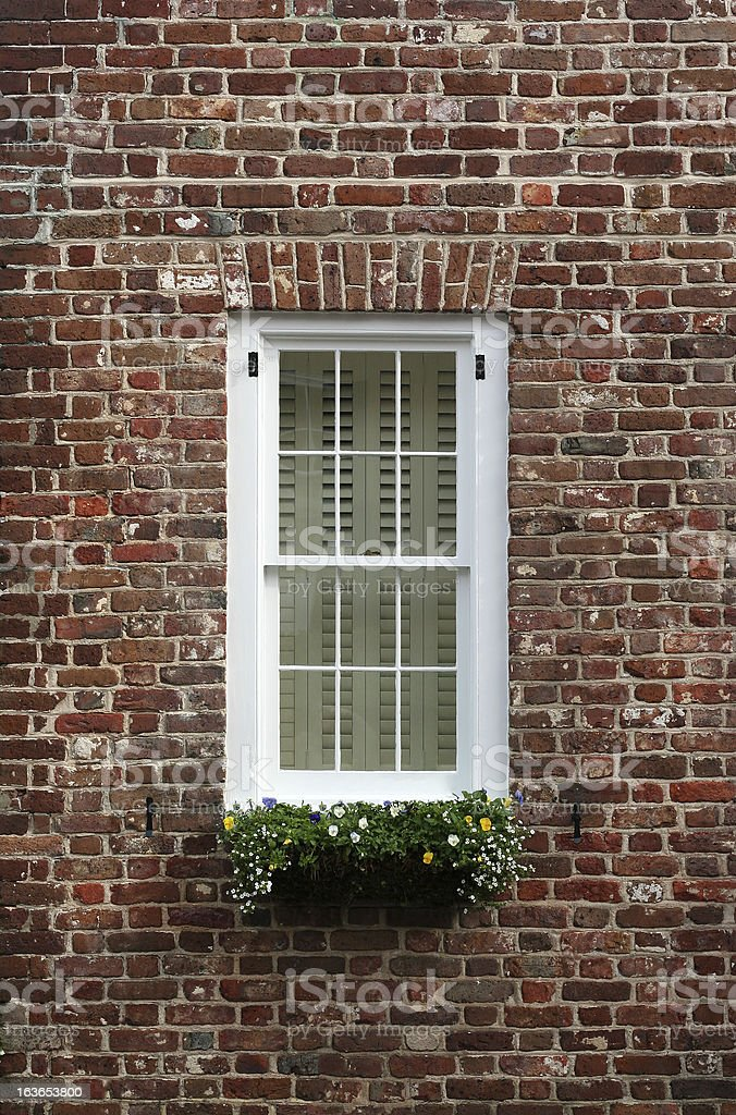 Old brick wall window royalty-free stock photo