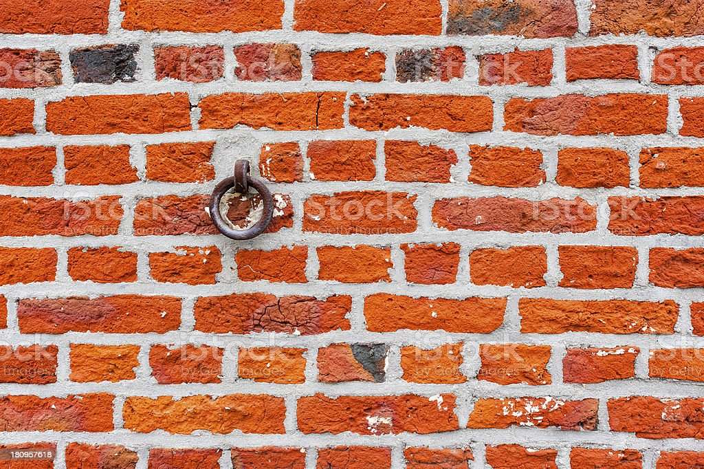 Old brick wall with ring royalty-free stock photo
