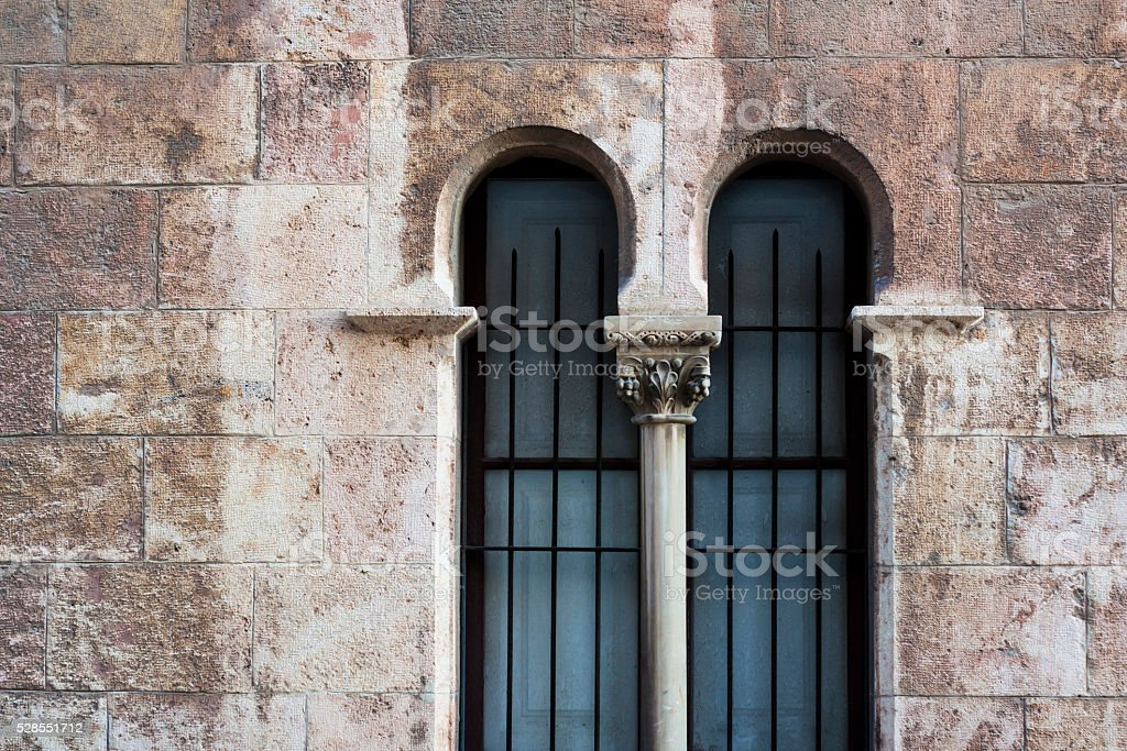 old brick wall with window, arabic style stock photo