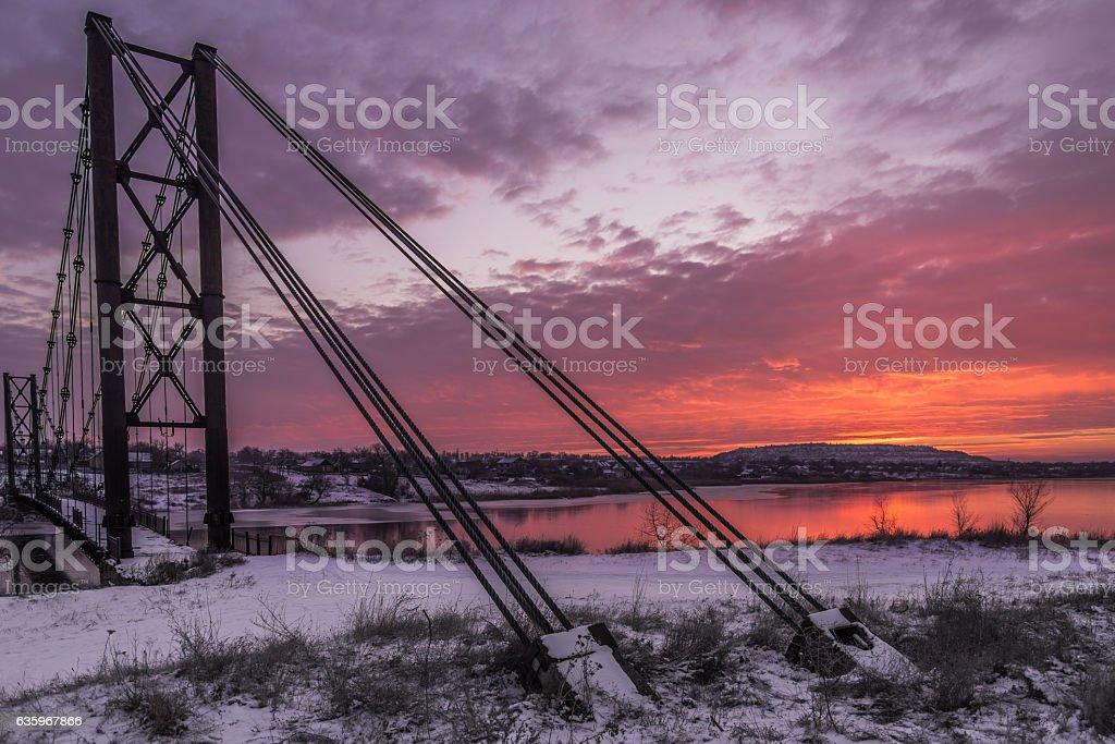 Old bridg in village stock photo
