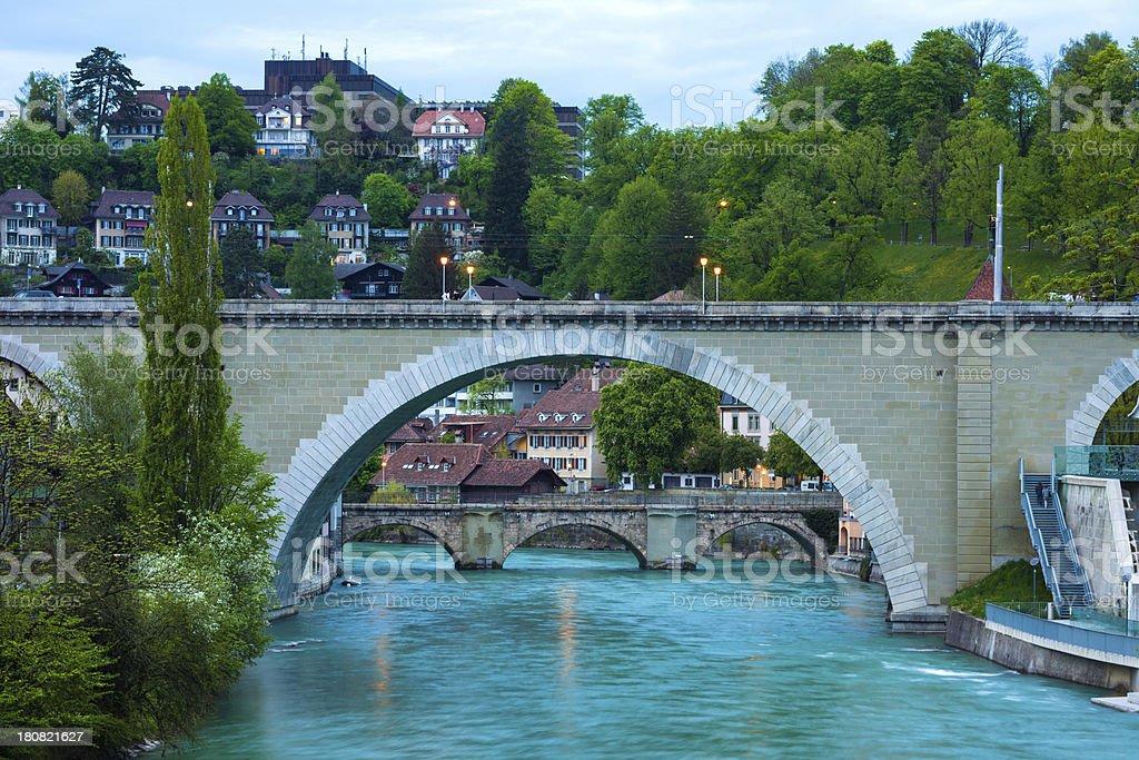 Old Bridge along Aare River at Bern stock photo