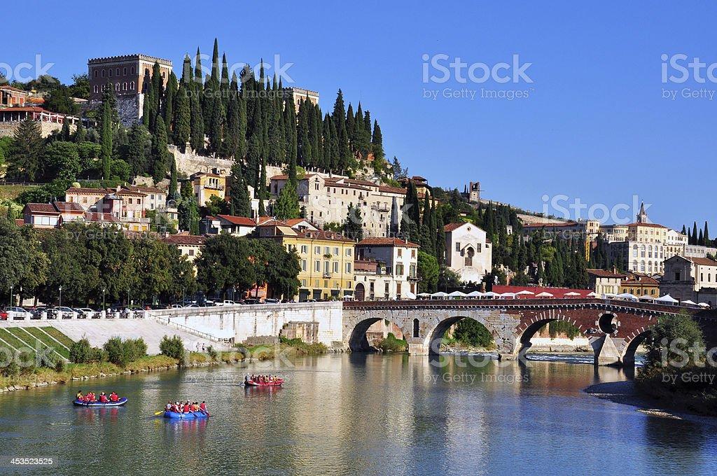Old bridge and river in Verona stock photo