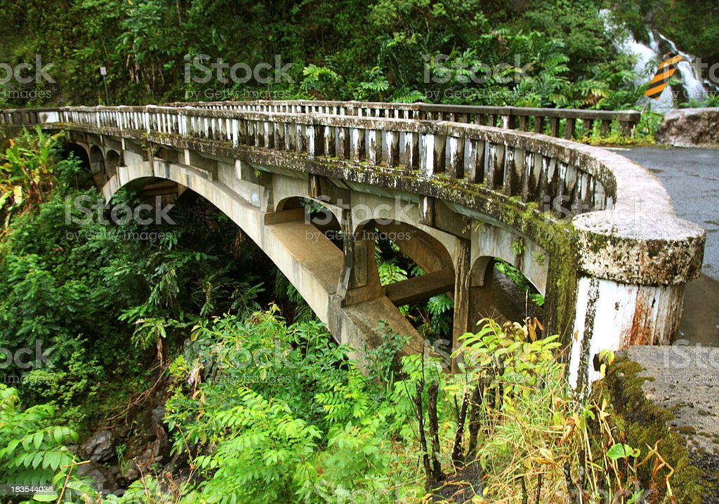 Old bridge and waterfall on the road to Hana Maui stock photo