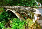 Old bridge and waterfall on the road to Hana Maui