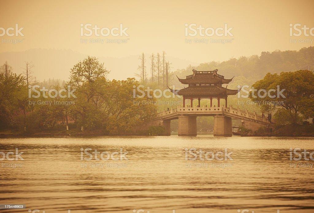 old bridge at the Lake XiHu stock photo