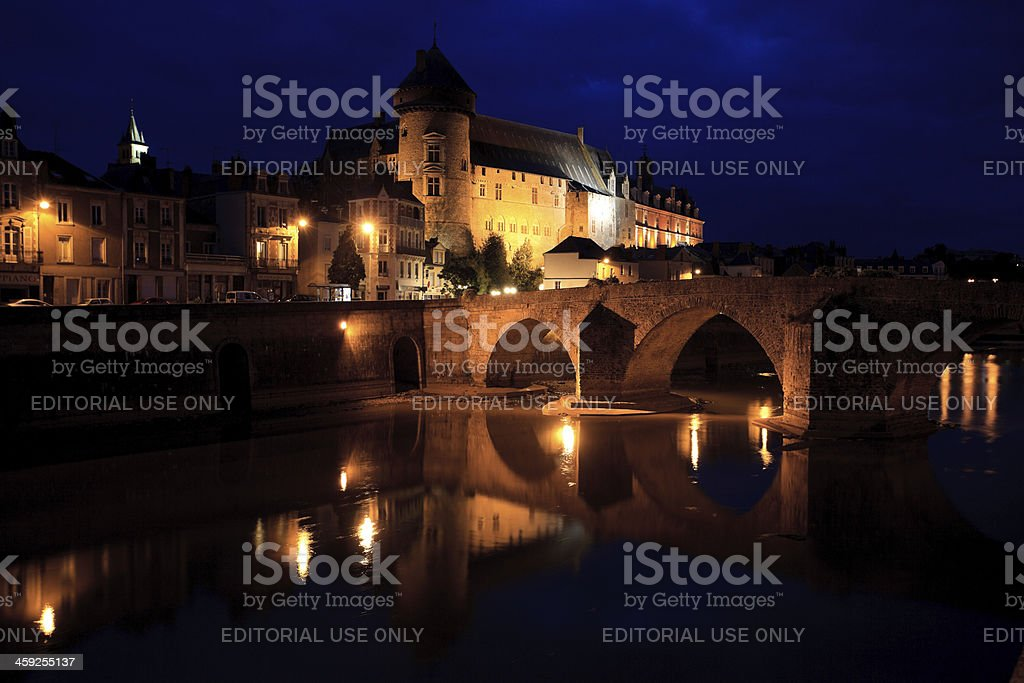 Old bridge in front of the Laval castle royalty-free stock photo
