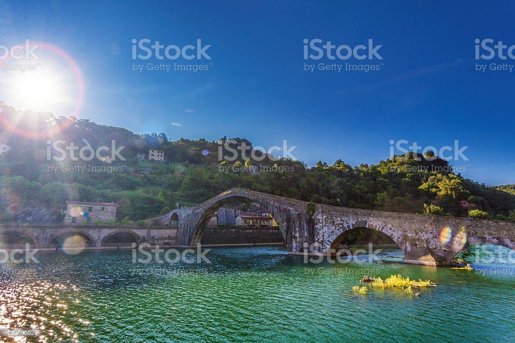 old bridge in Italy stock photo