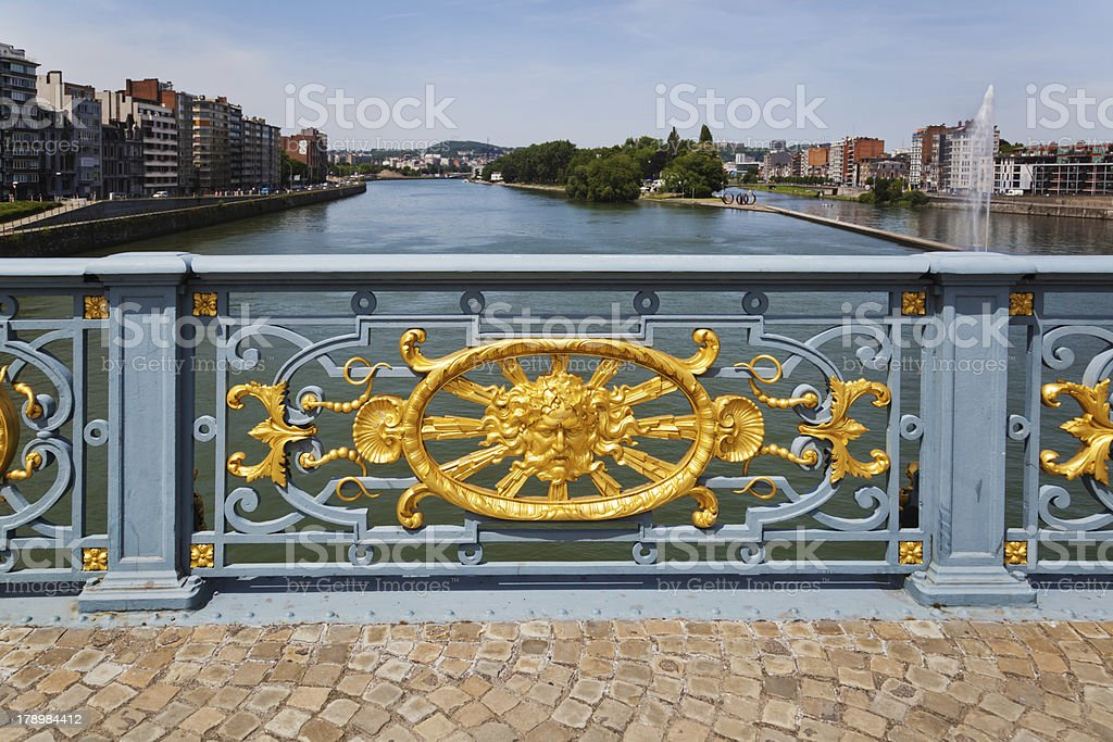 old bridge in Liège stock photo