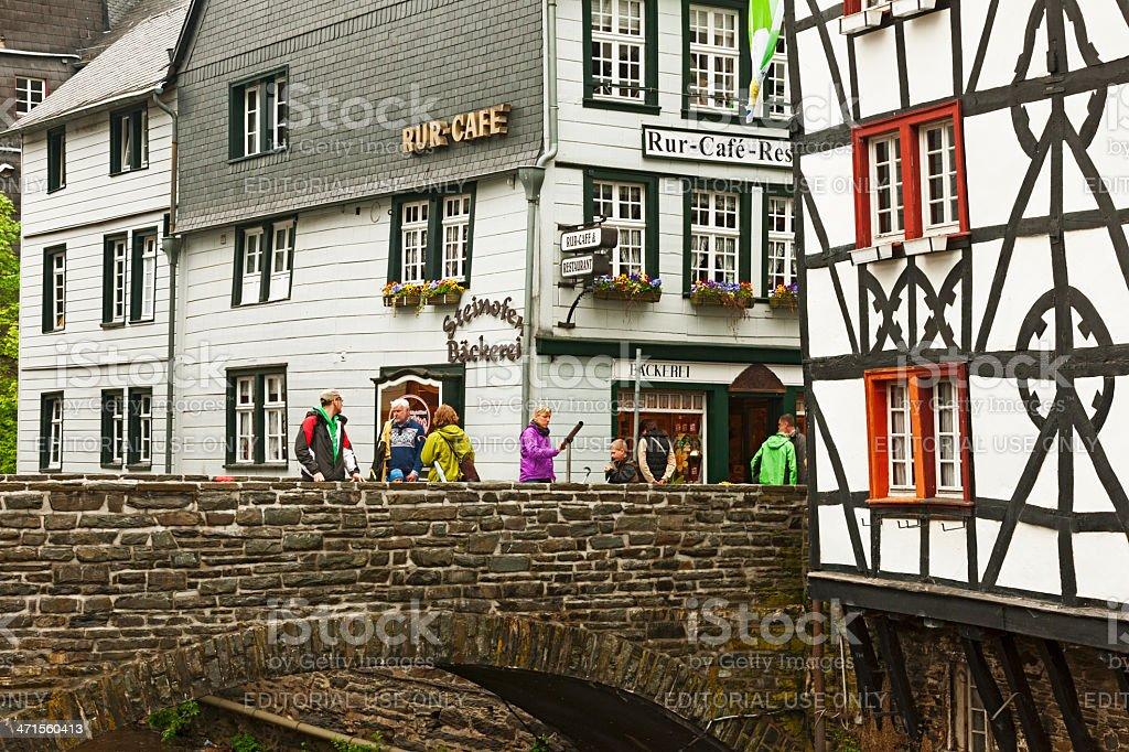 Old bridge in Monschau stock photo