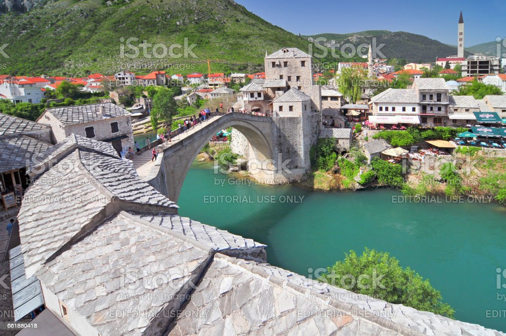Old bridge in Mostar Bosnia and Herzegovina. stock photo