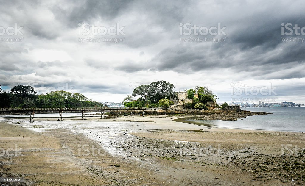 Old bridge in Santa Cruz island, Oleiros, A Coruna, Spain stock photo