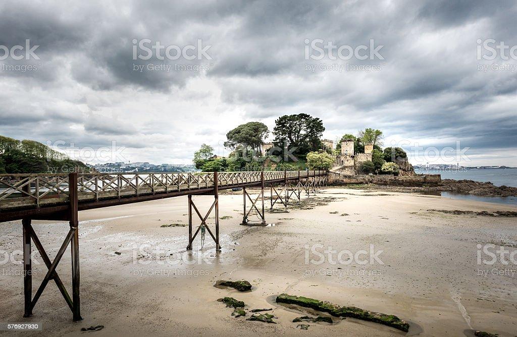 Old bridge in Santa Cruz island, Oleiros, Rias Altas, stock photo