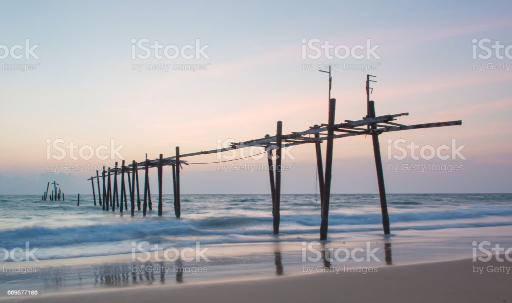 Old bridge in the sea, Phang-Nga, Thailand stock photo