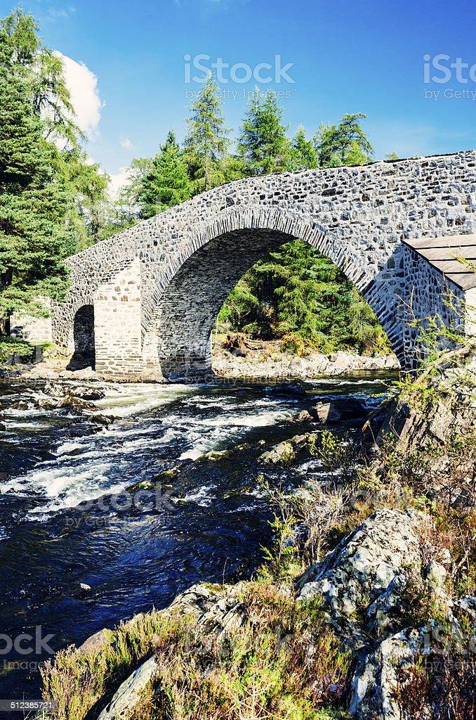 Old Bridge of Dee near Braemar, Scotland stock photo