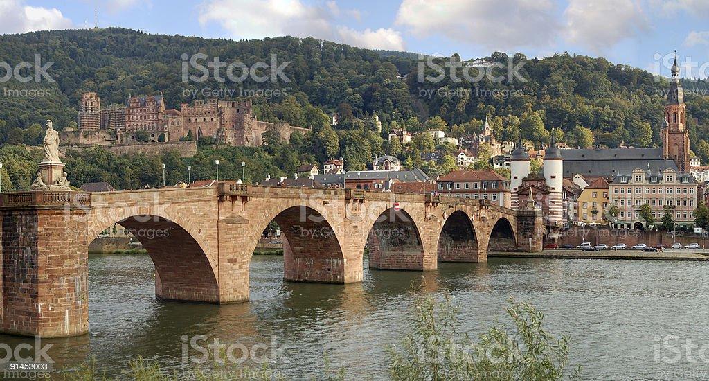 Old bridge of Heidelberg at Nekar River (Germany) stock photo