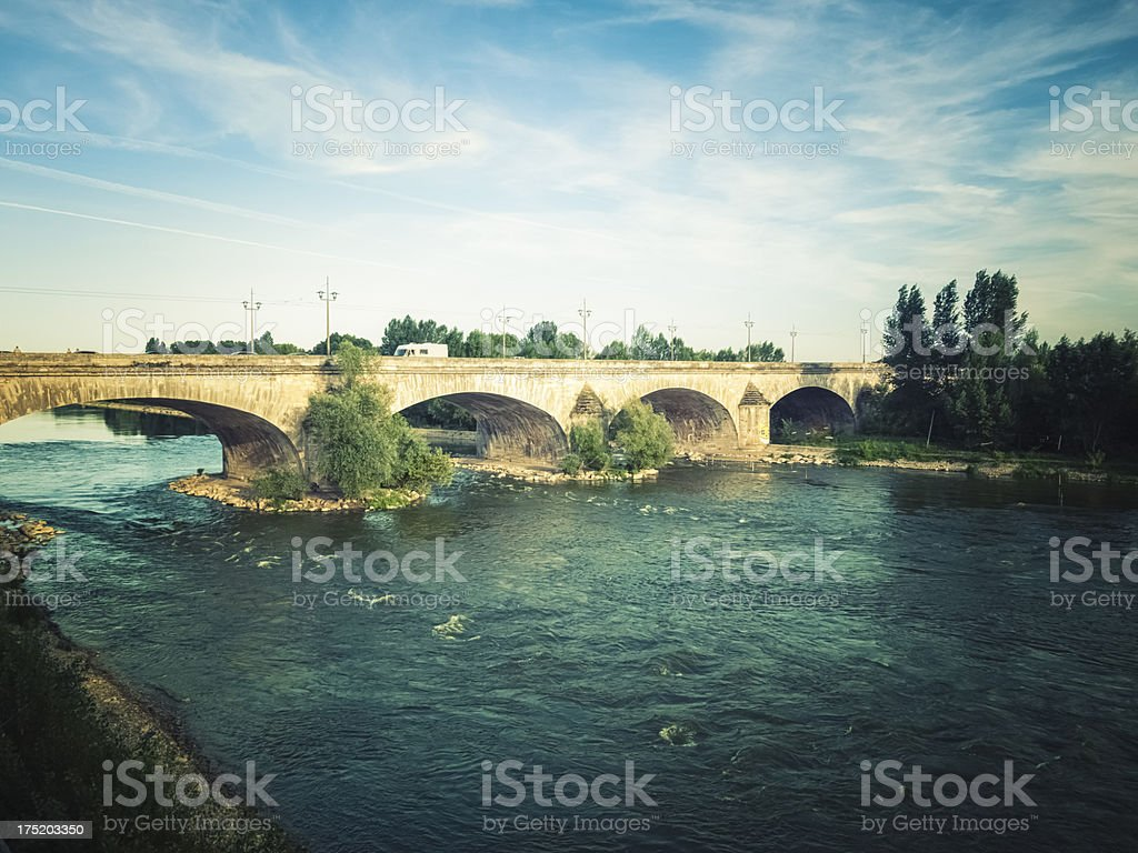 Old bridge on Loire river, France stock photo