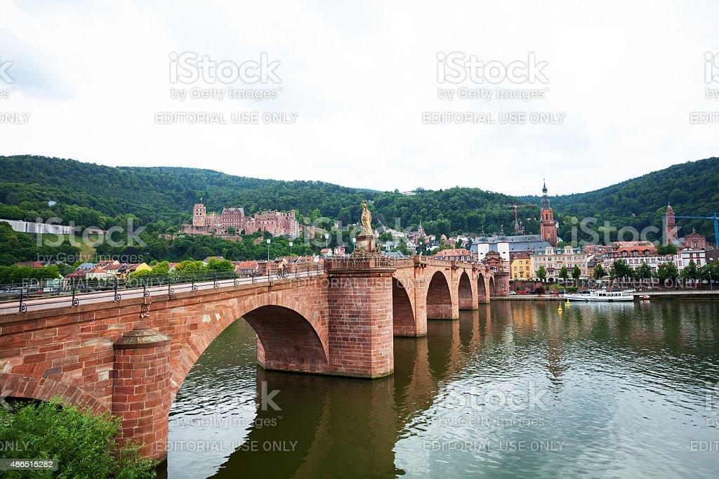 Old bridge over Neckar and Altstadt of Heidelberg stock photo