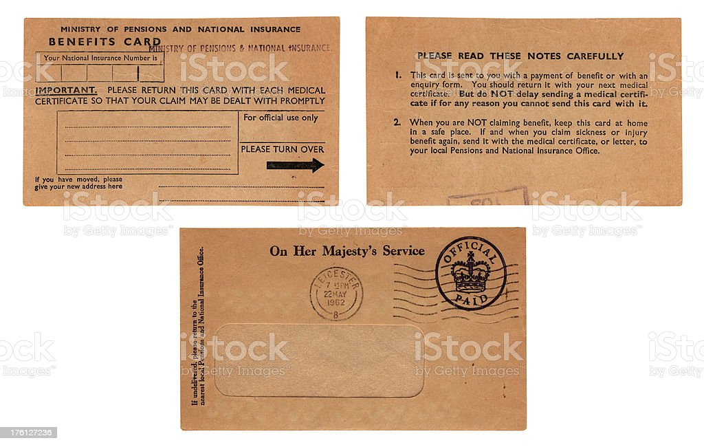 Old British benefits card (back and front) with envelope royalty-free stock photo