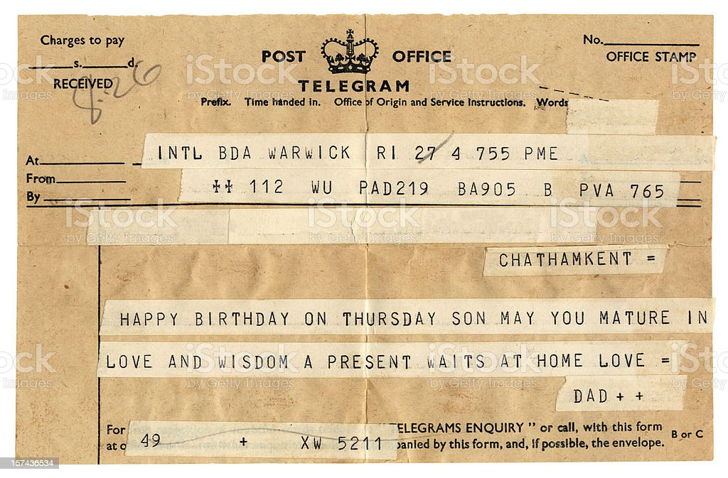 Old British birthday congratulations telegram royalty-free stock photo