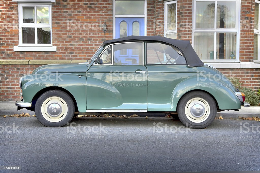Old British Convertible Outside House-More Below royalty-free stock photo