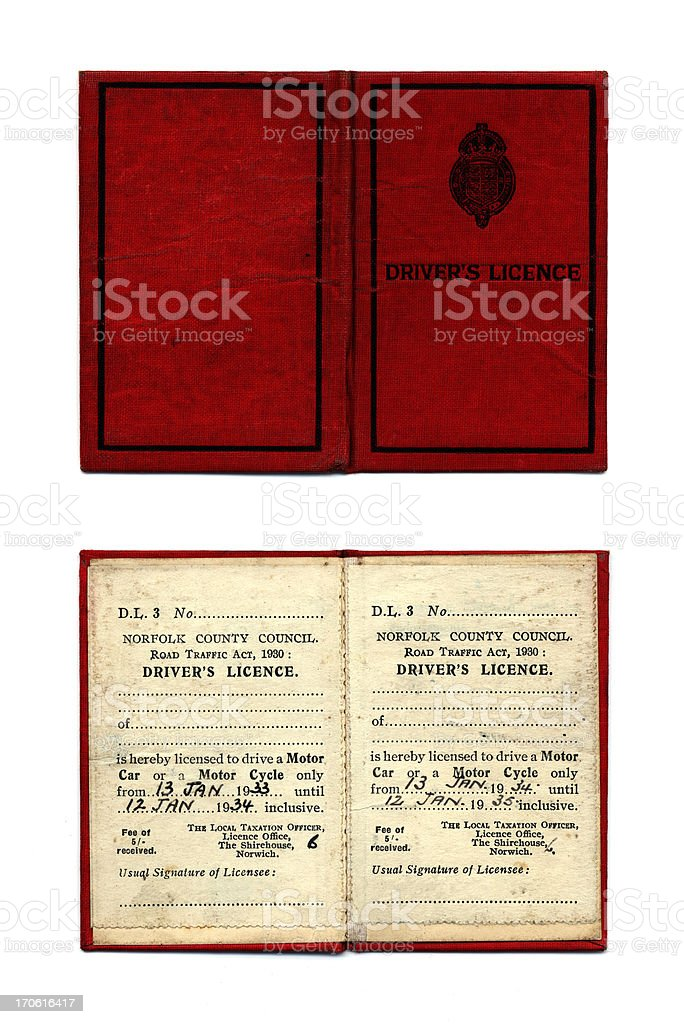 Old British driving licence stock photo